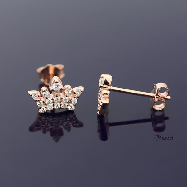Sterling Silver CZ Paved Crown Stud Earring - Rose Gold-Earrings-Glitters