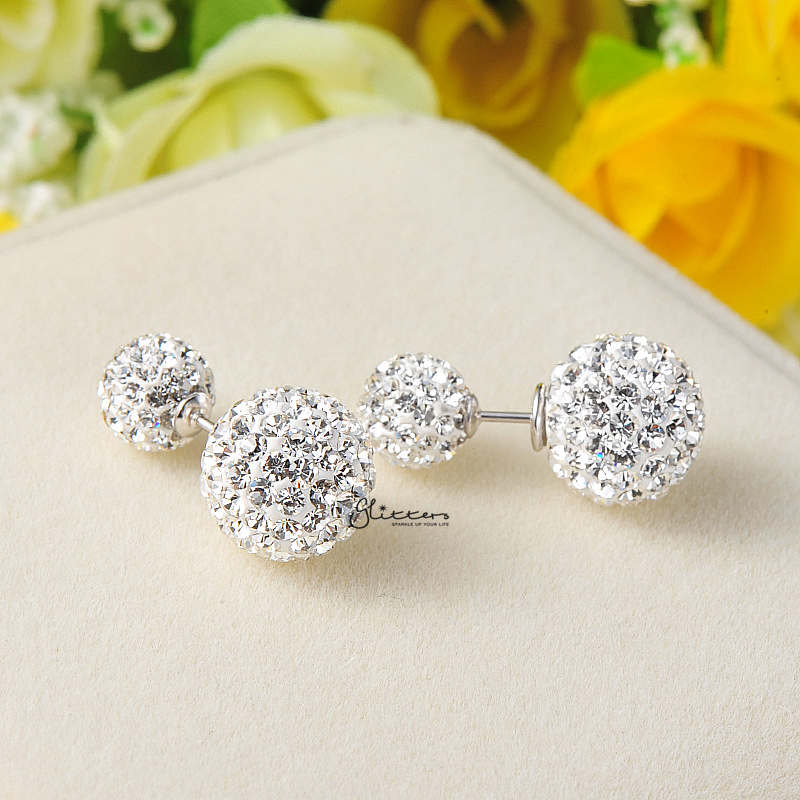 Sterling Silver with Double Sided Crystal Pave Balls Stud Earrings