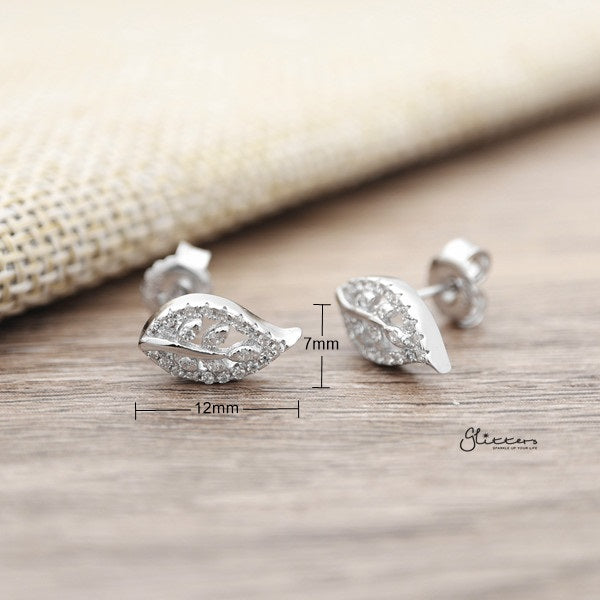 925 Sterling Silver CZ Leaf Stud Earrings-Glitters-New Zealand