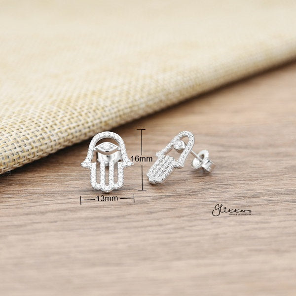 925 Sterling Silver CZ Paved Hamas Hand Stud Earrings-Glitters-New Zealand