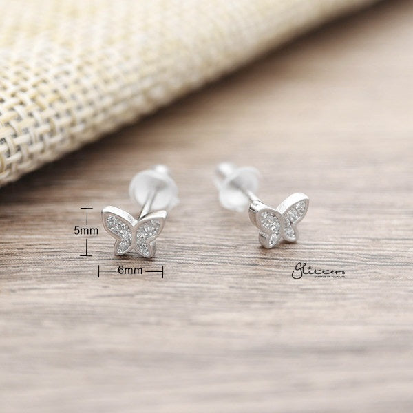 925 Sterling Silver CZ Paved Butterfly Stud Earrings-Glitters-New Zealand