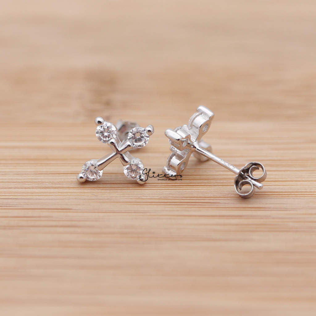 Sterling Silver Cross with 4 Cubic Zirconia Stud Earrings