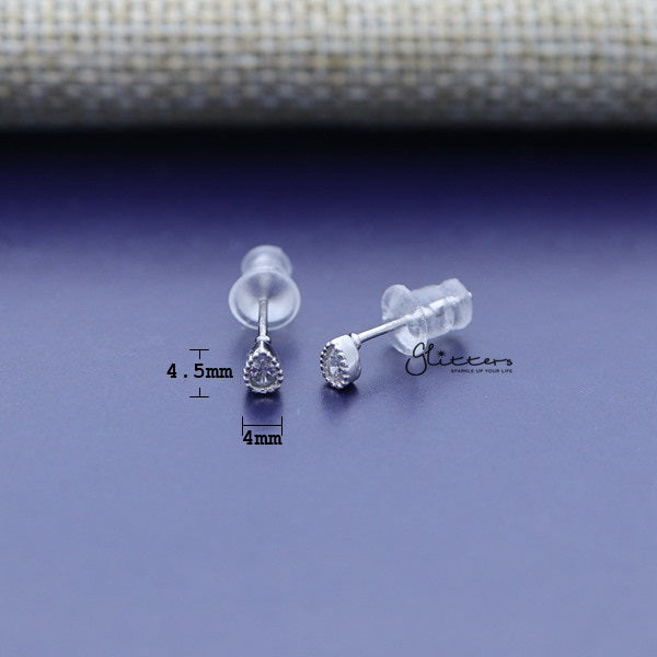 925 Sterling Silver Tear Drop Shaped Cubic Zirconia Stud Earrings