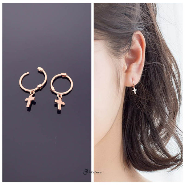 Sterling Silver One-Touch Hoop Earrings with Dangle Cross - Rose Gold-Earrings-Glitters