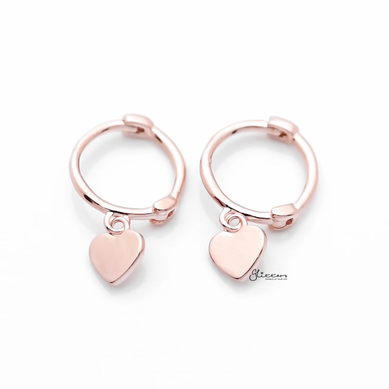 Sterling Silver One-Touch Hoop Earrings with Dangle Heart - Rose Gold-Earrings-Glitters