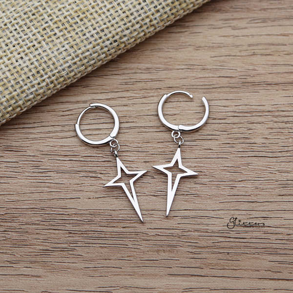 925 Sterling Silver Dangle Hollow Star One-Touch Huggie Hoop Earrings-Glitters-New Zealand