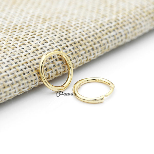 925 Sterling Silver Tiny One-Touch Huggie Hoop Earrings - Gold - Glitters-New Zealand