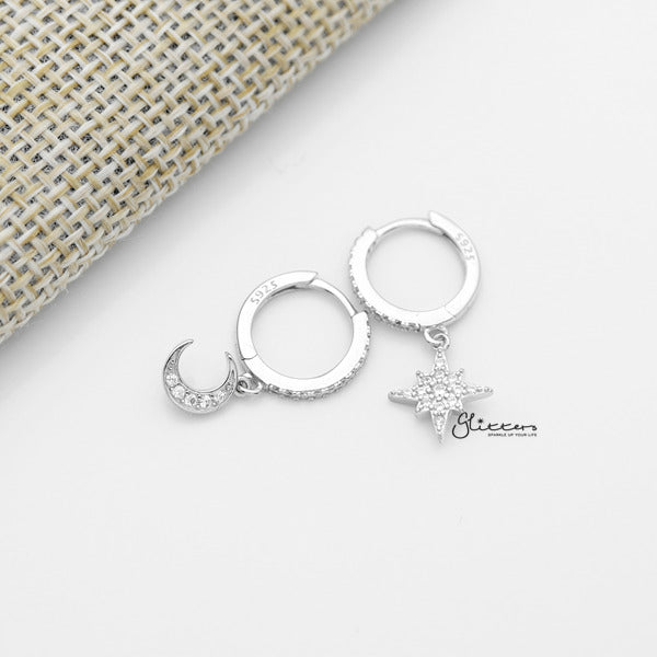925 Sterling Silver Dangle C.Z Moon Star One-Touch Huggie Hoop Earrings - Glitters-New Zealand