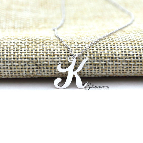 Personalized Sterling Silver Alphabet Necklace - Font 5