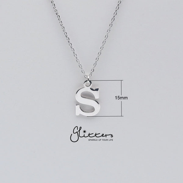Personalized Sterling Silver Alphabet Necklace - Font C-Glitters