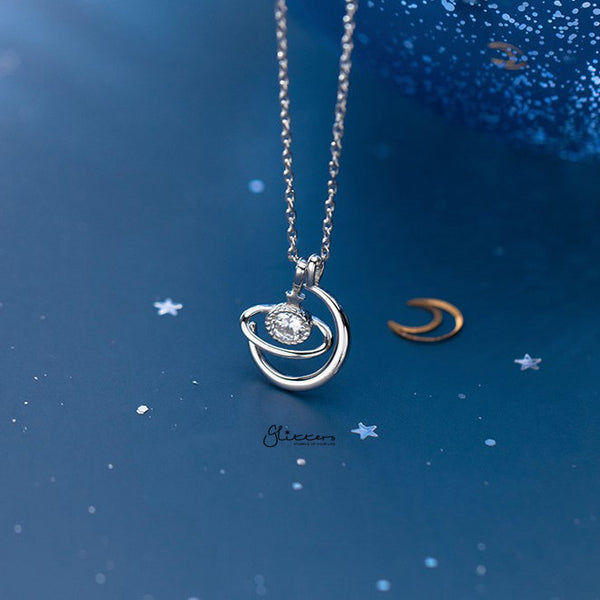 925 Sterling Silver C.Z Planet Necklace with 45cm Chain-Glitters-New Zealand