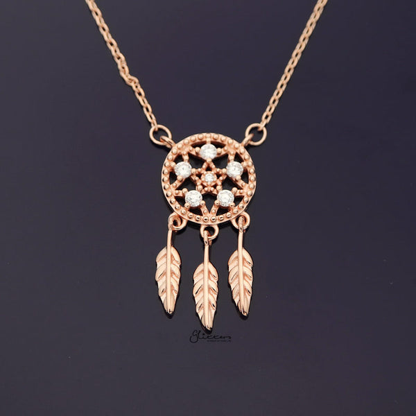 Sterling Silver Dream Catcher Necklace - Rose Gold-Necklace-Glitters