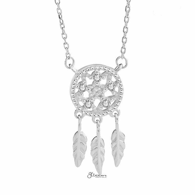 Sterling Silver Dream Catcher Necklace - Silver-Necklace-Glitters