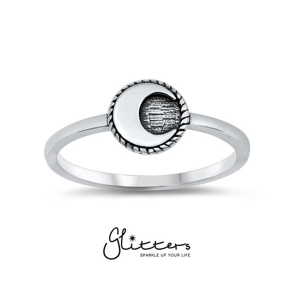Sterling Silver Moon Ring-Glitters