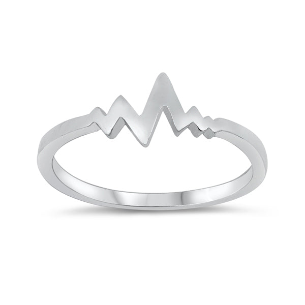 Sterling Silver Heartbeat Ring-Glitters