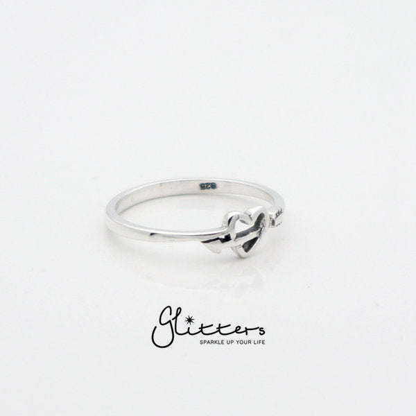Sterling Silver Heart and Arrow Ring-Glitters