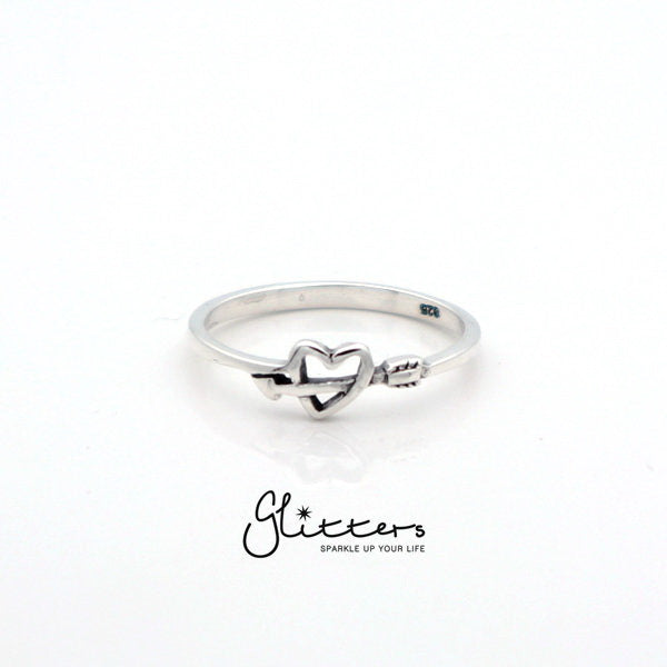 Sterling Silver Heart and Arrow Women's Rings-Glitters-New Zealand
