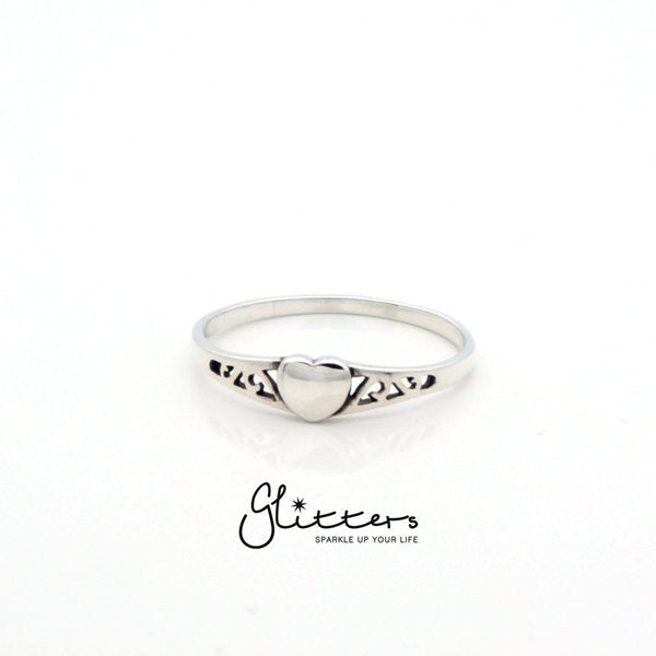 Sterling Silver Heart Ring-Glitters