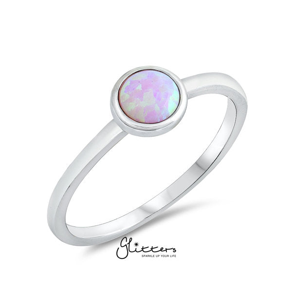 Sterling Silver Pink Circle Opal Ring-Glitters