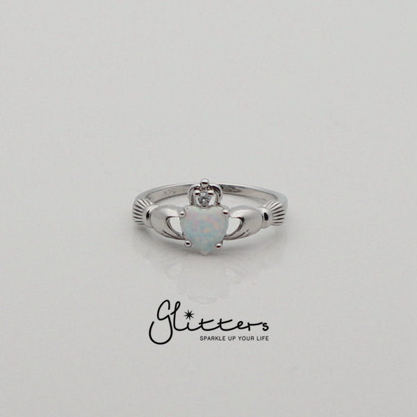 Sterling Silver Claddagh Ring with White Opal-Glitters