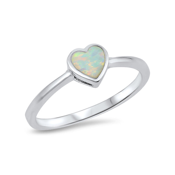 Sterling Silver Heart White Opal Ring-Glitters