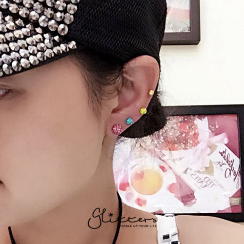 Ferido Crystal Disco Ball Top with Surgical Steel Tragus Barbell-Pink-Glitters-New Zealand