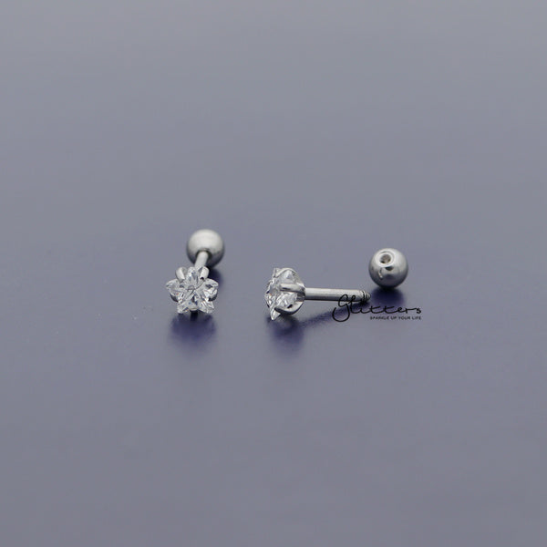 316L Surgical Steel Prong Set Star CZ Cartilage/Tragus Barbell Studs - Silver/Clear
