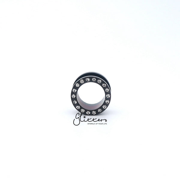 Black Titanium I.P Surgical Steel Crystal Ear Screw On Flesh Tunnels-Glitters-New Zealand