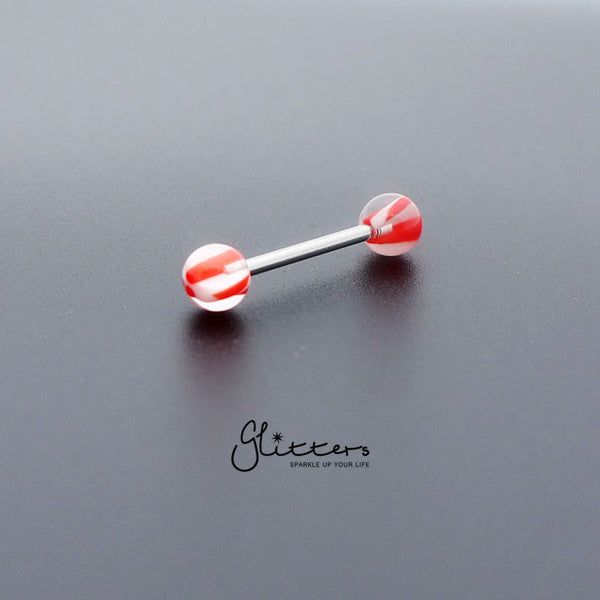 Red Acrylic Screw Marble Ball with Surgical Steel Tongue Barbell-Glitters-New Zealand