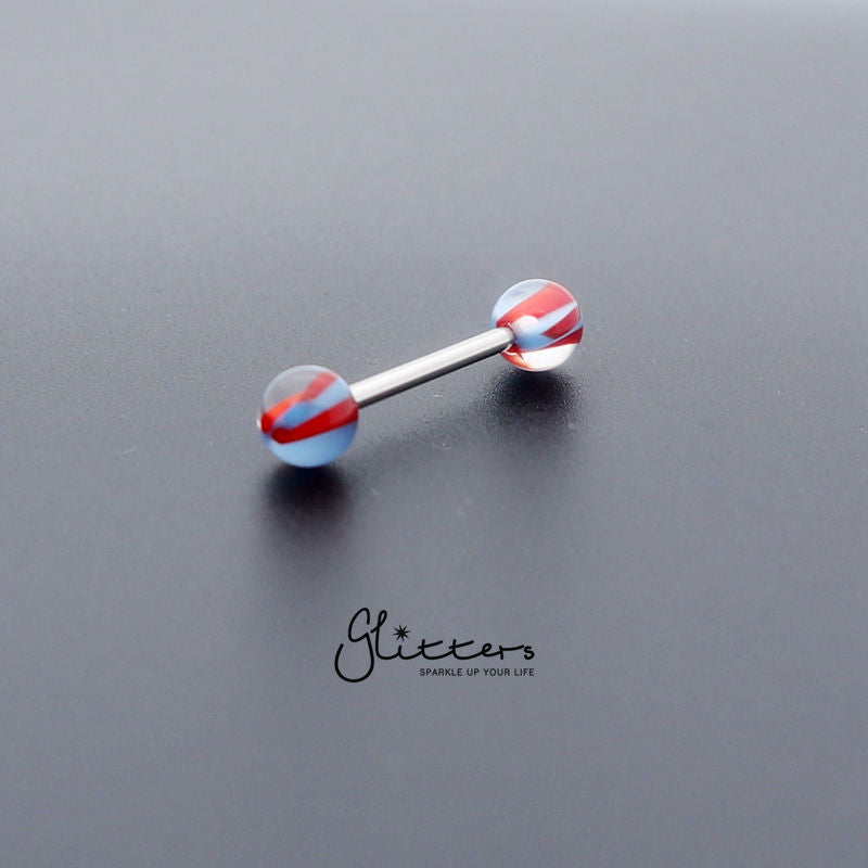 Blue/Red Acrylic Screw Marble Ball with Surgical Steel Tongue Barbell-Glitters-New Zealand