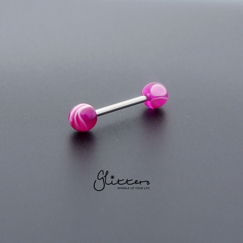 Purple Marble Acrylic Ball with Surgical Steel Tongue Barbell-Glitters-New Zealand