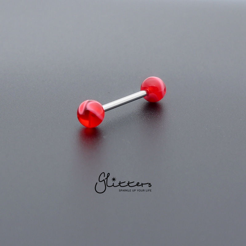 Red Marble Acrylic Ball with Surgical Steel Tongue Barbell-Glitters