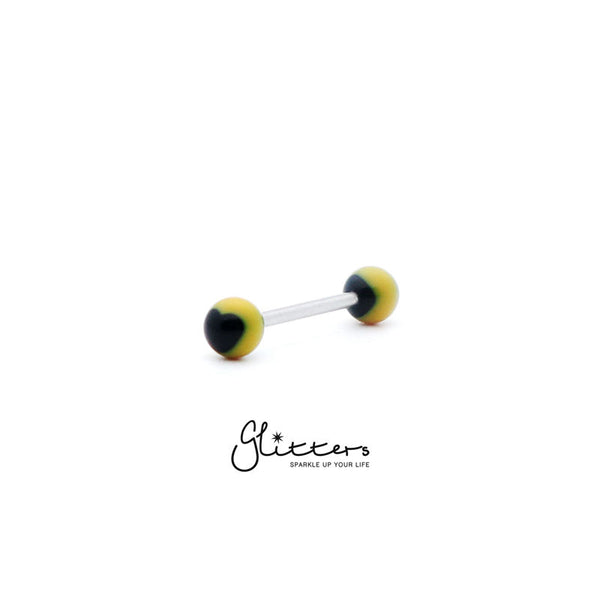 Yellow Acrylic Ball with Black Heart Tongue Barbell
