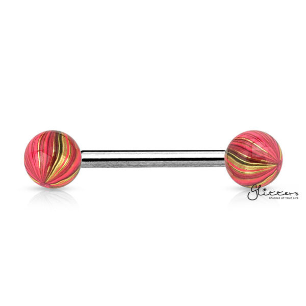 316L Surgical Steel Tongue Barbells with Multi Colour Plated Balls-Glitters-New Zealand