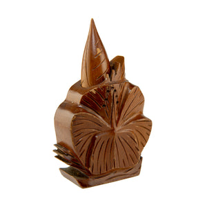 VINTAGE HAWAIIAN CARVED MONKEYPOD WOOD PERFUME BOTTLE
