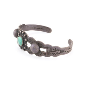 Fred Harvey Turquoise Coin Silver Bracelet