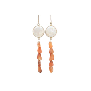 Shell and Carnelian Earrings