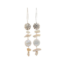 Silver Coin Charm and Shell Earrings