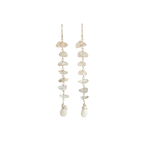 Rutile Quartz and Mother of Pearl Shell  Earrings