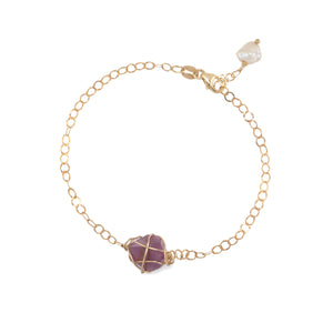 14k Gold filled Chain Stone Bracelet