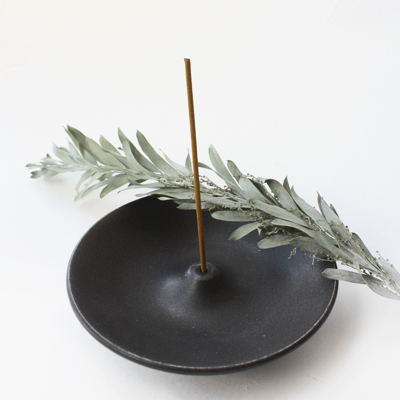 Black Ceramic Incense Holder