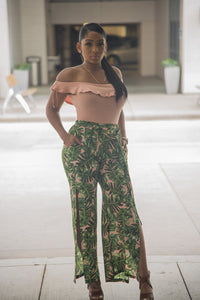Blush Tropical Print Wide Leg Pants featuring a tie waist and flowy leg slits.