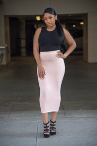Blush High Waist Midi Solid Skirt with elastic band