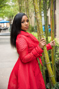 Red Collard Fish Net Tie A-Line Trench Coat featuring a light red detailed floral design, pockets and lining.