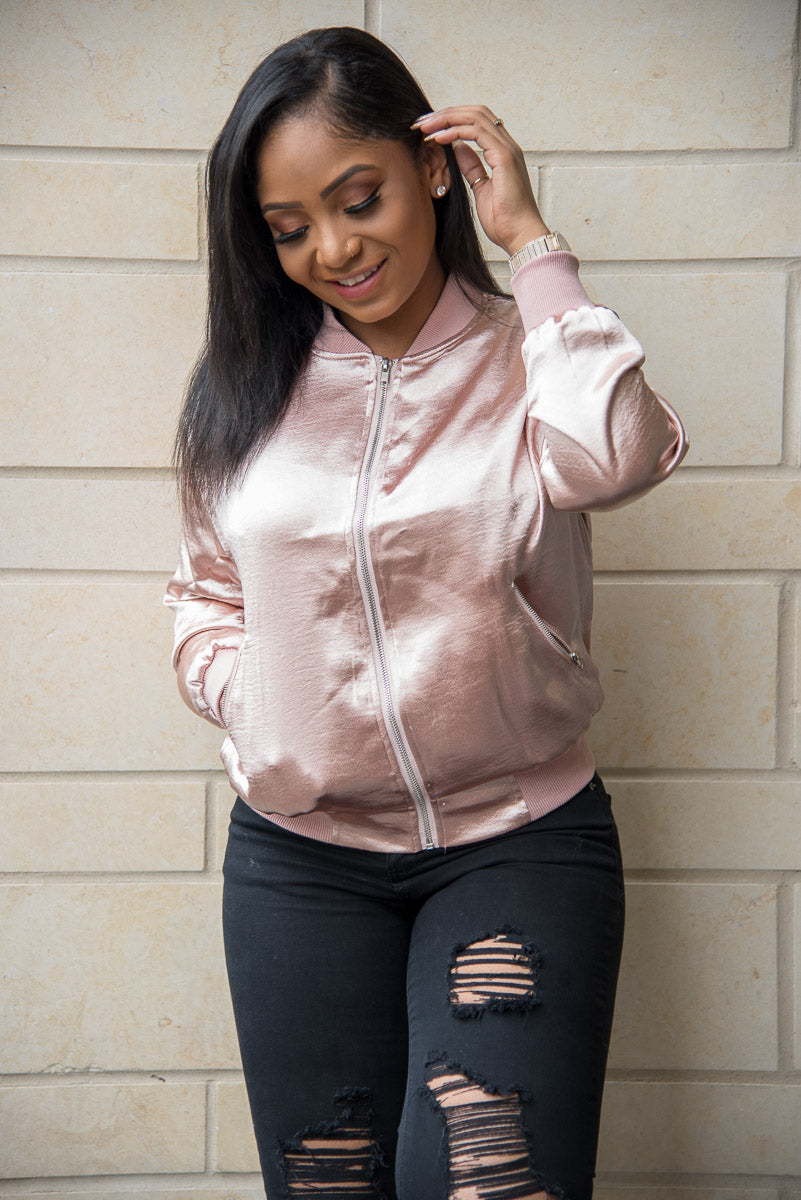 blush Double Lined Bomber Jacket with zipper