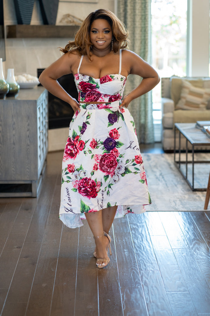 Cherie Amour Rose Skirt Set