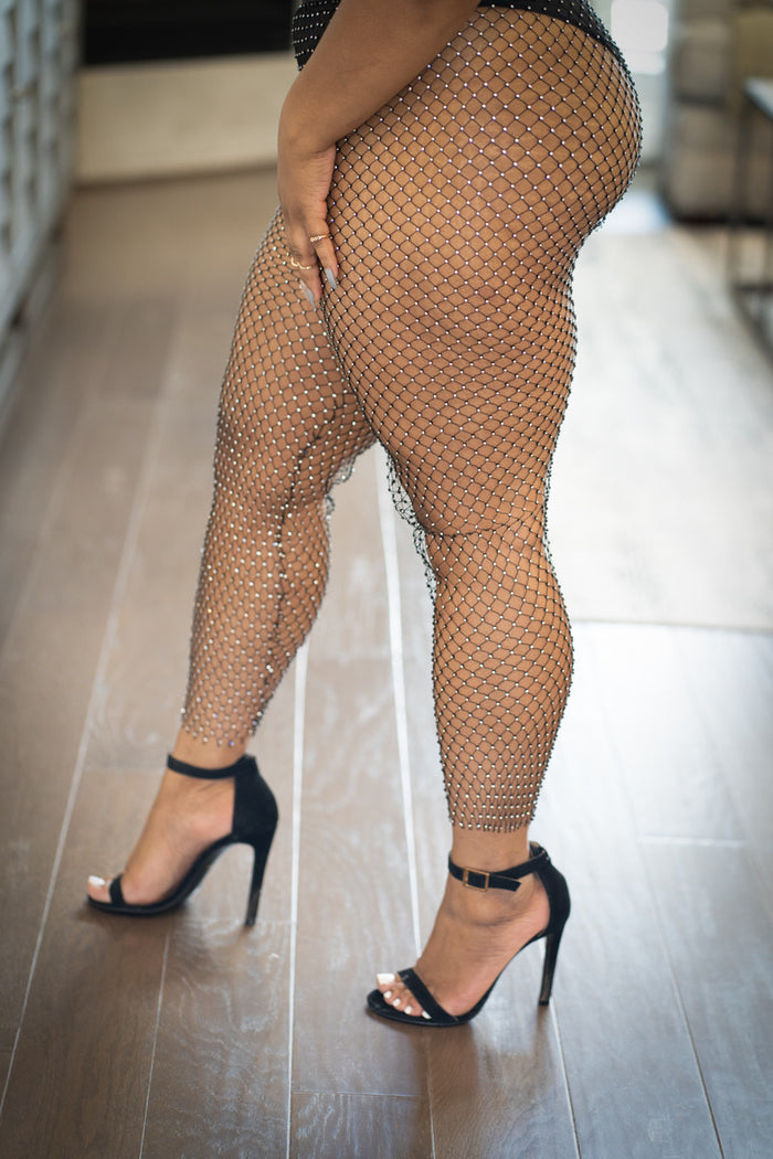 Crystal Mesh Rhinestone Leggings