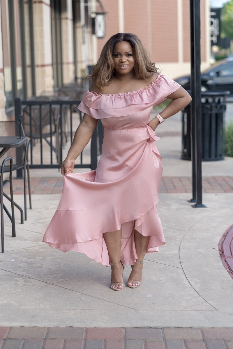 Angela Mauve Off Shoulder Ruffle Dress