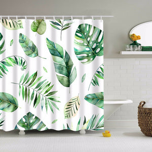 Watercolour Plant Leaves Shower Curtain