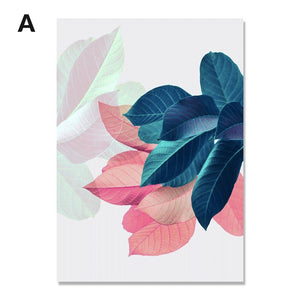 Soft Pastels Leaf Wall Prints